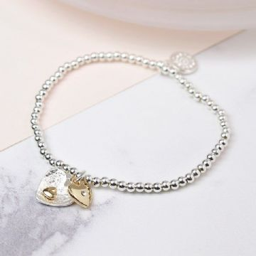 Silver and Gold Plated Double Heart Charm Bracelet